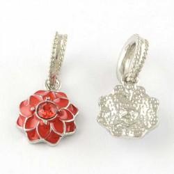 Charm pendentif Fleur double émail rouge style Pandora - à l'unité
