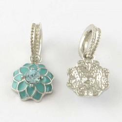 Charm pendentif Fleur double émail turquoise style Pandora - à l'unité