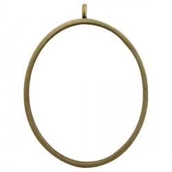 Pendentif contour ovale 38 x 50 mm, bronze antique
