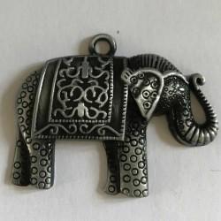 Pendentif breloque en métal Eléphant, argenté noir