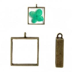 Pendentif contour carré 33 x 28 mm, bronze antique