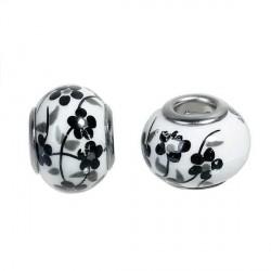 Perle porcelaine fleurie Noire style Pandora - à l'unité