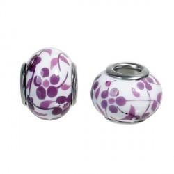 Perle porcelaine fleurie Mauve style Pandora - à l'unité
