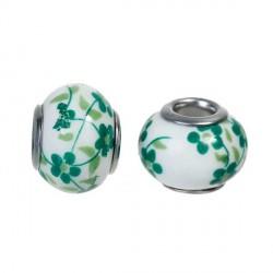 Perle porcelaine fleurie Verte style Pandora - à l'unité