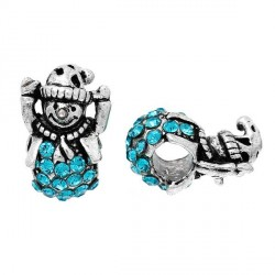 Charm Bonhomme de Neige strass turquoise style Pandora - à l'unité