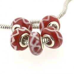 Perle de verre rouge double guirlande style Pandora - à l'unité
