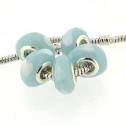 Perle de verre Coeur turquoise style Pandora - à l'unité