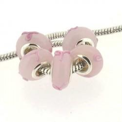 Perle de verre noeud rose style Pandora - à l'unité