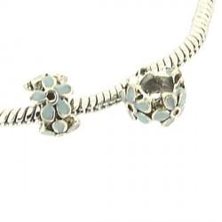 Charm anneau Fleur émail turquoise style Pandora - à l'unité