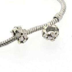 Charm anneau Fleur émail blanc style Pandora - à l'unité