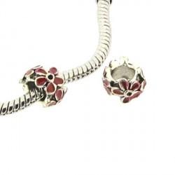 Charm anneau Fleur émail rouge style Pandora - à l'unité