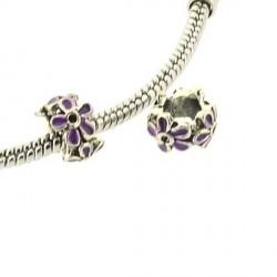 Charm anneau Fleur émail Violet style Pandora - à l'unité