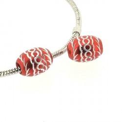 Perle ovale aluminium rouge style Pandora - à l'unité