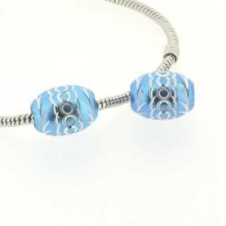 Perle ovale aluminium turquoise style Pandora - à l'unité