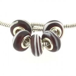 Perle de verre rouge ligne blanche style Pandora - à l'unité