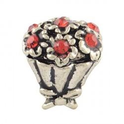 Charm Bouquet strass rouge style Pandora - à l'unité