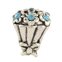 Charm Bouquet strass turquoise style Pandora - à l'unité