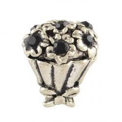 Charm Bouquet strass noir style Pandora - à l'unité