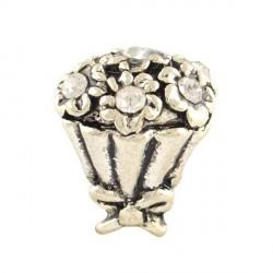 Charm Bouquet strass blanc style Pandora - à l'unité