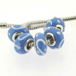 Perle de verre turquoise guirlande blanche en relief style Pandora - à l'unité