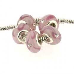 Perle de verre rose avec un strass blanc style Pandora - à l'unité