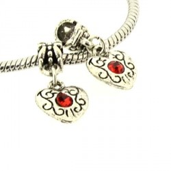 Charm Médaillon Coeur strass rouge style Pandora - à l'unité