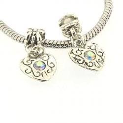 Charm Médaillon Coeur strass blanc style Pandora - à l'unité