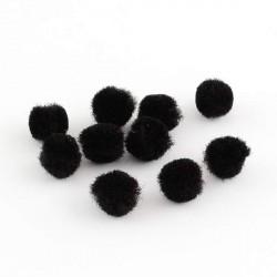 Pompons 15 mm noirs, 10 pièces
