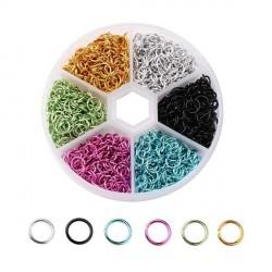 Boite 6 couleurs Anneaux en aluminium multicolores, 6 mm