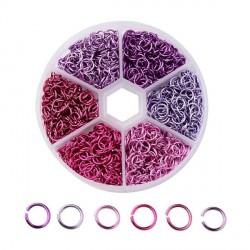 Boite 6 couleurs Anneaux en aluminium tons roses, 6 mm