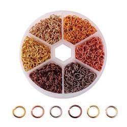 Boite 6 couleurs Anneaux en aluminium tons bruns, 6 mm