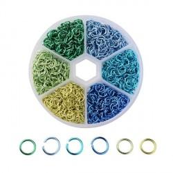Boite 6 couleurs Anneaux en aluminium tons bleus verts, 6 mm