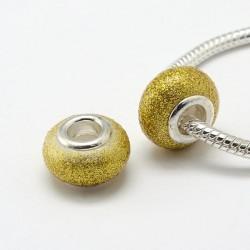 Perle de verre jaune pailletée style Pandora - à l'unité