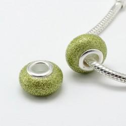 Perle de verre vert clair pailletté style Pandora - à l'unité