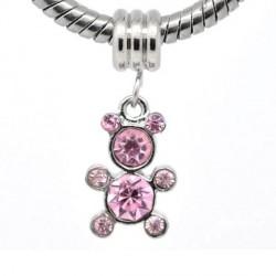 Charm Pendentif Ourson strass rose style Pandora - à l'unité