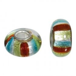 Perle de verre trois couleurs style Pandora - à l'unité