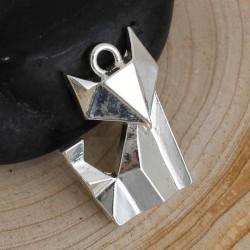 Pendentif breloque en métal Origami Renard