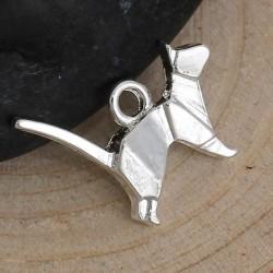 Pendentif breloque en métal Origami Chat