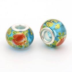 Perle de verre turquoise chinoise fleurs peintes style Pandora - à l'unité