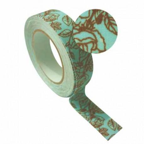 Masking Tape Tissu Feuilles bleues - 15 mm x 5 m