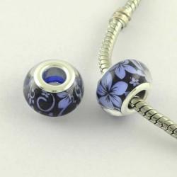 Perle en résine noire fleurs bleues style Pandora - à l'unité