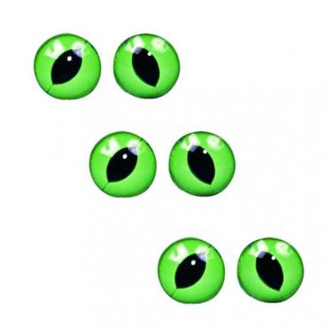 Oeil de chats vert/noir, à coudre