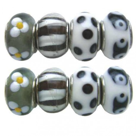 Assortiment Perles Pandora noir/blanc - 8 pièces