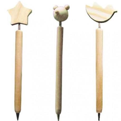 3 stylos bille en bois à décorer