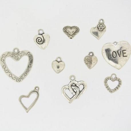 Pendentifs breloques Coeurs x10