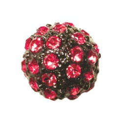 Perle metal strass shamballa 10mm rouge