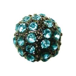 Perle metal strass shamballa 10mm turquoise