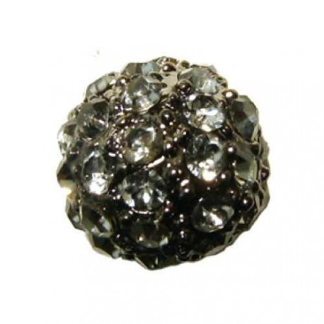 Perle metal strass shamballa 10mm hématite