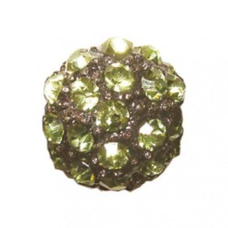 Perle metal strass shamballa 10mm vert tilleul