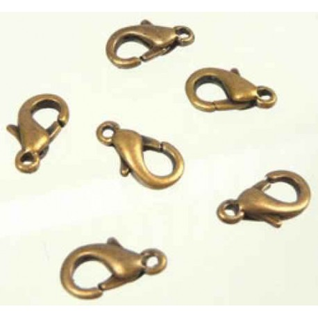 Fermoir de métal, bronze, ovale 12 x 6 mm